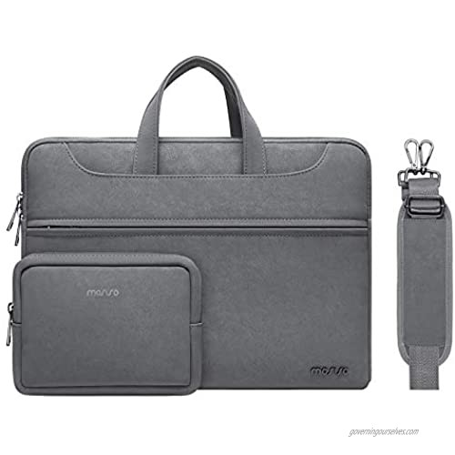 MOSISO PU Leather Waterproof Laptop Shoulder Bag Compatible with MacBook Pro/Air 13 inch  13-13.3 inch Notebook Computer  Briefcase Sleeve with Small Case & Front Zipper Pocket & Trolley Belt  Gray