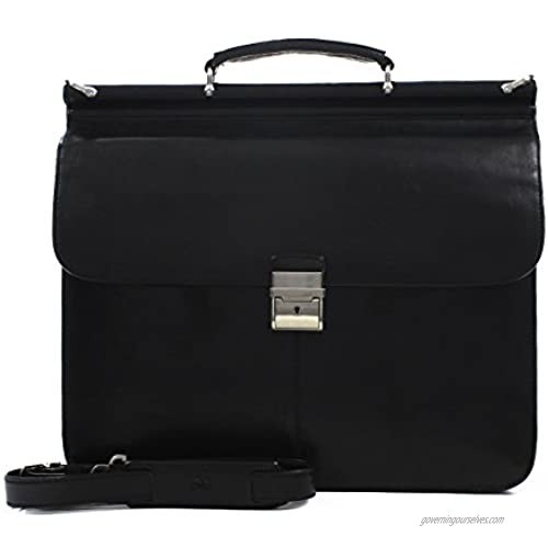 """Tony Perotti Mens Italian Leather Top Handle Dowel Rod Double Compartment 15.4"""" Laptop Business Briefcase  Black"""
