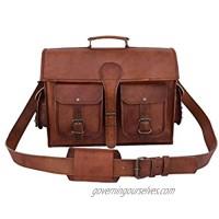 Vintage Leather 15 Inch Laptop Messenger Bag Briefcase Satchel for Men and Women