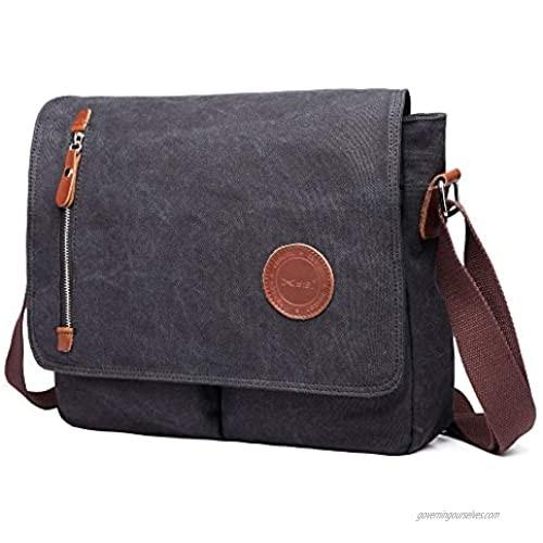 13 Inch Vintage Men's Canvas Messenger Bag Laptop Shoulder Satchel Crossbody Sling Bookbag School Bag Briefcase Laptop Bag