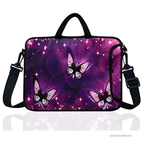 "14-Inch Neoprene Laptop Shoulder Messenger Bag Case Sleeve for 13 13.3 14 14.1"" Inch Notebook/Chromebook (Purple Butterfly)"