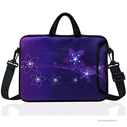 """15-Inch to 15.6-Inch Neoprene Laptop Shoulder Messenger Bag Case Sleeve For 14 14.1 15 15.6"""" Inch Acer/Asus/Dell/Lenovo/Thinkpad/HP/Macbook Pro/Air (purple)"""