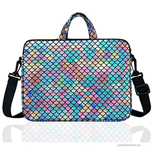 """15.6-Inch Laptop Shoulder Carrying Bag Case Sleeve For 14"""" 15"""" 15.6 inch Macbook/Notebook/Ultrabook/Chromebook  Mermaid Scale (Colorful)"""