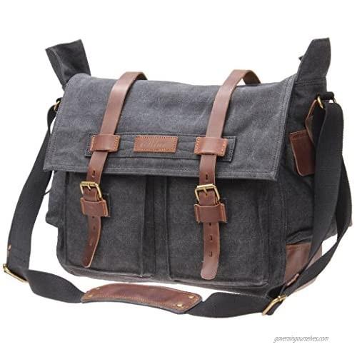 IBLUE Mens X-Large Canvas Messenger Bag Retro Leather Trim Shoulder Bags Laptop Satchel Military Crossbody Bag