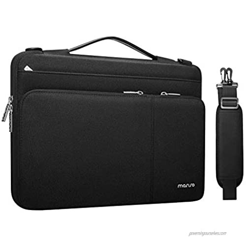 MOSISO 360 Protective Laptop Shoulder Bag Compatible with MacBook Pro/Air 13  13-13.3 inch Notebook Computer  Polyester Side Open Briefcase Sleeve with 3 Front Pockets&PU Handle&Trolley Belt  Black