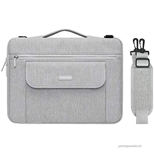 MOSISO 360 Protective Laptop Shoulder Bag Compatible with MacBook Pro/Air 13 inch  13-13.3 inch Notebook Computer  Polyester Side Open Briefcase Sleeve with Front Flip Pocket&Extendable Handle  Gray
