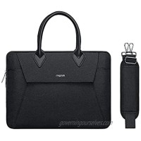 MOSISO Laptop Shoulder Messenger Bag Compatible with MacBook Pro 16 inch A2141/Pro Retina A1398 15-15.6 inch Notebook  Polyester Buckle Flapover Briefcase Sleeve with Full Open Zipper&PU Handle  Black