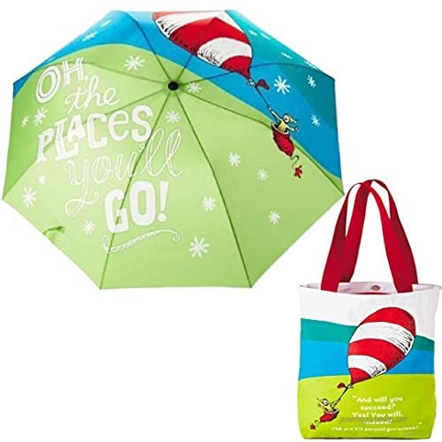 Oh The Places You'll Go For Graduates Gifts 1 Umbrella with Slip Cover and 1 Large Canvas Tote Bag