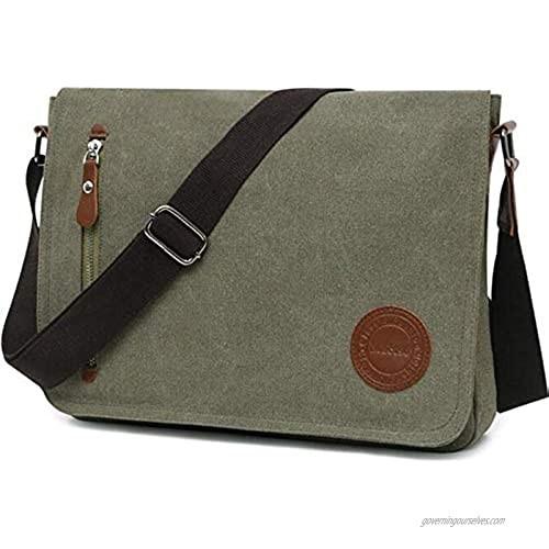Vintage Canvas Messenger Bag Laptop Shoulder Satchel Crossbody School Bag for 11.6-13.3 inch Laptop Chromebook
