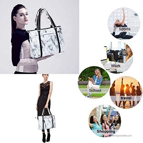 Women Laptop Tote Bag for Work Marble Handbag Purse Shoulder Bag Lightweight Water-resistant Laptop Bag for 15.6 Inch