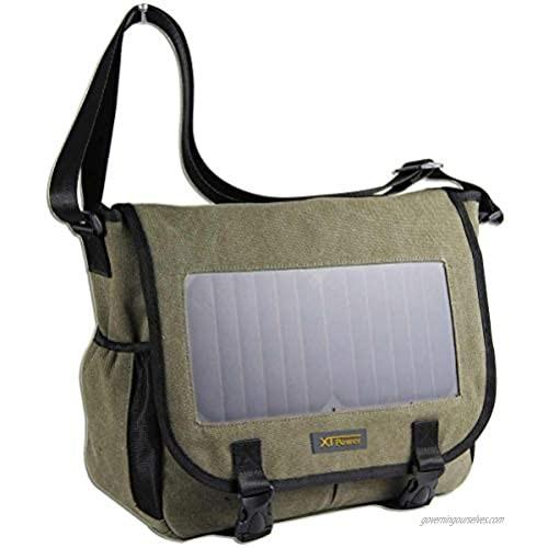 XTPower Xplorer Solar Messenger Bag   Integrated 7W Solar Panel with 5V-USB Charging Port   14 Inch Laptop Compartment